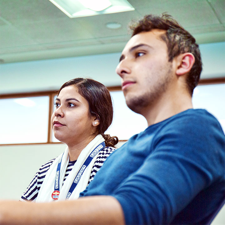 Two students focussing during class